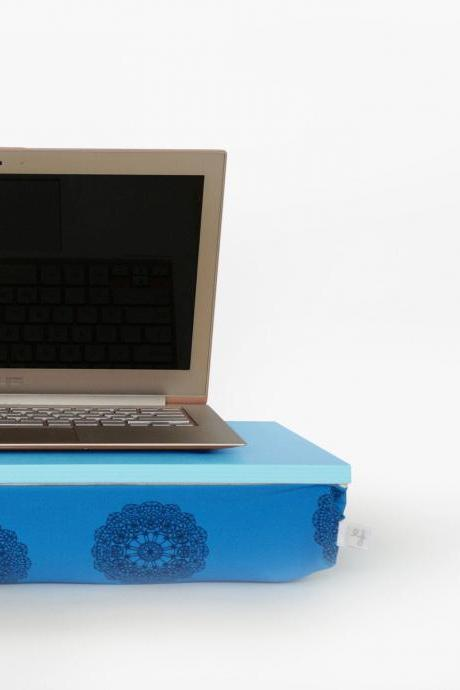 Laptop portable table, Laptop stand, Breakfast in Bed serving Tray - aqua blue tray, petroleum blue, crochet print pillow