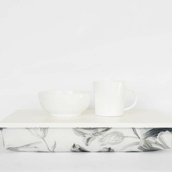 Wedding gift for newlyweds- Breakfast serving bed tray- ivory tray, off white with black and white flower pattern pillow