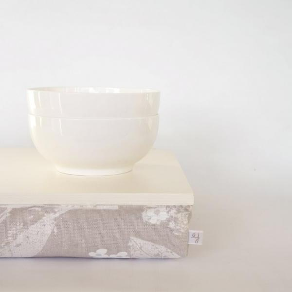 Stable table, iPad stand or wooden Breakfast in Bed serving Tray - Off White with pastel grey flower print Pillow
